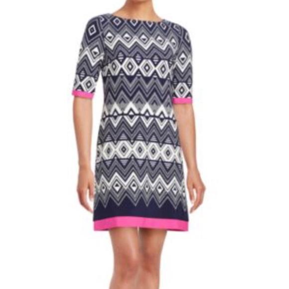Eliza J Geometric Print Shift Dress